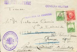 Sobre 687, 682(2). 1937. 30 Cts Carmín Y 10 Cts Verde, Dos Sellos. GRADO A PAU (FRANCIA), Reexpedida A La Poste Restante - Spagna