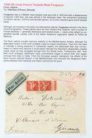 Sobre . 1938. 50 Cts Rojo, Pareja. ARGEL A VILLENAVE D'ORNON (FRANCIA). Remitida Desde El Torpedero Francés FOUGUEUX (ma - Spagna