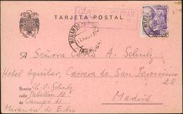 Sobre . 1943. 20 Cts Violeta. Tarjeta Postal De MIRANDA DE EBRO A MADRID, Remitida Desde El Campo De Concentración De Mi - Spagna