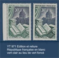 """FR Variétés YT 971 """" Edition Et Reliure"""" République Française En Blanc - Vert Clair Ald Vert Foncé - Variétés: 1950-59 Neufs"""