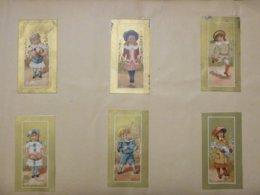 Une Série De 6 Belles Chromos Collées - Enfants  Jouant Fonds Et Bordure Doré - Unclassified