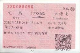 China Express Train (T-7786) Ticket, Yiwu To Shanghai Hongqiao - Chemins De Fer