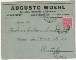 Brazil 1933 Commercial Envelope Circled From Hansa-Humboldt Corupá To Curitiba - Covers & Documents
