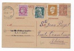 1947 - CARTE ENTIER SEMEUSE RARE + COMPLEMENT DULAC / GANDON / MAZELIN De VANNES (MORBIHAN) => PONT-TRAMBOUZE - Marcofilia (sobres)