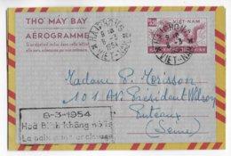 """VIET-NAM - 1954 - AEROGRAMME ENTIER POSTAL De HAÏPHONG => PUTEAUX - PROPAGANDE """"LA PAIX SANS ESCLAVAGE"""" - RARE ! - Vietnam"""