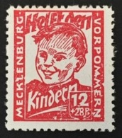 1945 Geprüft BPP  Mecklenburg-Vorpommern Kinderhilfe Mi.28b Dunkelrosa**) - Soviet Zone