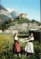 BALZERS Schloss Gutenberg Mädchen In Tracht Verlag Papeterie Thöny Vaduz - Liechtenstein