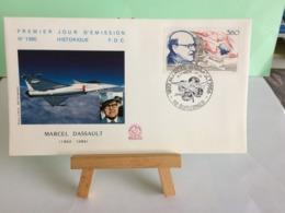 Marcel Dassault (n°1560) - 92 Suresnes - 23.1.1988 FDC 1er Jour Coté 3€ - 1980-1989