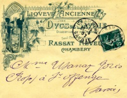 CHAMBERY, Liqueurs Duc De Savoie Rassat / LSC De 1907 > St Offenge TB - Postmark Collection (Covers)