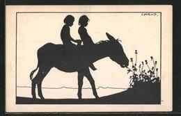 Künstler-AK Carus: Esel Frisst Blumen Mit Kindern Auf Seinem Rücken - Carus