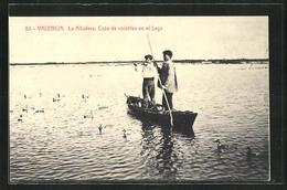 AK Valencia, La Albufera, Caza De Volatiles En El Lago, Jäger Auf Einem Boot - Jacht