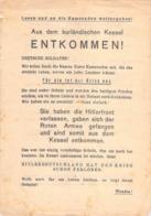 "WWII WW2 Flugblatt Tract Leaflet Листовка Soviet Propaganda Against Germany ""Aus Dem Kurländische Kessel ENTKOMMEN!"" - 1939-45"