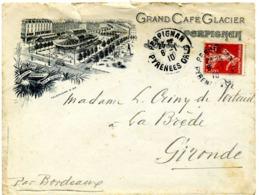 PERPIGNAN, Grand Café Glacier / LSC De 1910 > Bordeaux TB - Postmark Collection (Covers)
