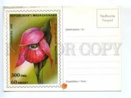 419493 Madagascar 1993 Flowers Cypripedum Macranthon POSTAL Stationery Postcard - Ganzsachen