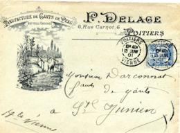 POITIERS , Manufacture De Gants De Peau P. Delage Rue Carnot / LSC De 1901 > St Junien TB - Marcofilie (Brieven)