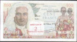 Saint Pierre Et Miquelon, 100 Francs Surchargé, Serie Z.44 - 1955-1959 Sovraccarichi In Nuovi Franchi