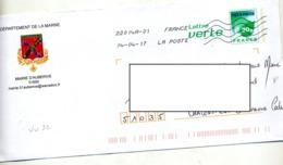 Lettre Carte Verte Flamme Chiffree Sous Code  Entete Mairie Auberive - Prêts-à-poster:  Autres (1995-...)