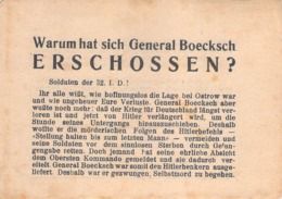 "WWII WW2 Flugblatt Tract Leaflet Листовка Soviet Propaganda Against Germany ""Warum Hat Sich General Boecksch ERSCHOSSEN - 1939-45"