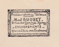 Facture 1935 / H & J BUQUET / Restauration Tableaux / Encadrement Dorure / 54 Nancy - Francia
