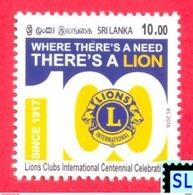 Sri Lanka Stamps 2016, Lions Clubs International, MNH - Sri Lanka (Ceylon) (1948-...)