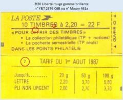 FRANCE - Carnet Conf. 7 - 2f20 Liberté Rouge - YT 2376 C6B / Maury 461a - Definitives