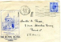 CAMBRIDGE THE ROYAL HOTEL Trumpington Street / LSC De 1952 > Paris TB - Postmark Collection