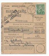 """1940 - IRIS - """"LE DESTINATAIRE N'A PU ETRE ATTEINT"""" Sur CARTE MANDAT ! De PLOERMEL (MORBIHAN) => COURTISOLS (MARNE) - Postmark Collection (Covers)"""