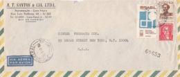 7439FM- HYDROLOGY, PEDRO I, JOSE BONIFACIO, STAMPS ON COVER, 1967, BRAZIL - Brazilië