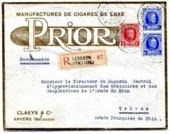 ANVERS Cigares De LUXE PRIOR Claeys & Cie / LR De 1929 > Armée Du Rhin à Trêves TB - Postmark Collection