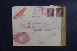 """BELGIQUE - Enveloppe De Oostroozebeke Pour New York En 1945 Avec Contrôle Postal, Cachet """" O.A.T.""""  - L 46296 - Cartas"""