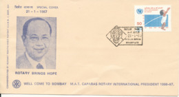India Cover With Special Postmark And Rotary Cachet 21-1-1987 - India