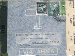 34555. Carta Aerea SANTIAGO (Chile) 1943. CENSOR, Examiner 9437. Doble CENSURA War World II - Cile