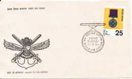 India FDC 15-8-1976 Salute To The Heroes With Cachet - FDC