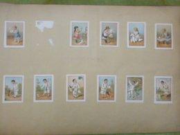 Une Série De 11 Belles Petites Chromos Collées - Pierrot - Papier Plié - Unclassified