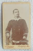 Ancienne Photo Format CDV Soldat Homme Marin En Tenue Photographe A GREMION à Rochefort Sur Mer XIXe - Photographs