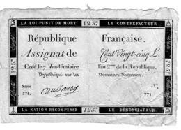 ASSIGNAT DE 125 Livres 7 Vendémiaire De L'an 2ème De La RÉPUBLIQUE LOI DU 24 OCTOBRE 1792 - Assignats