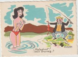Humour :poisson :   La  Pêche  Par  Illustrateur  Bernard  Aloebert ?  Hum  Le  Soutien  Gorge! - Humor