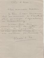 Lettre D'Henri ZO, Peintre-illustrateur à Ch. Masson, Directeur Du Musée Du Luxembourg à Paris. - Autographes