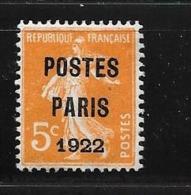 France:Pré N°30 Sans Gomme - 1893-1947