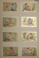 Une Série De 8 Belles Chromos Collées Fonds Or - Angelot Et Petit Enfant - Unclassified