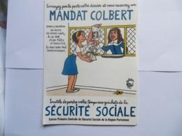 Petite Affiche Publicitaire D' époque Illustrateur Jean EFFEL Mandat Colbert Sécurité Sociale Mandat Bureau De Poste - Manifesti