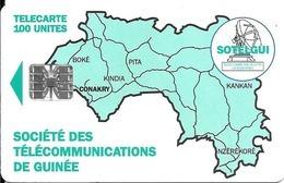 CARTE-PUCE-GUINEE-100U-SC7-CARTE De GUINEE-VERTE-V°BanqueSGBG-Sans N°-UTILISE-TBE-RARE - Guinea