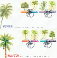 Tonga Niuafo'ou 2004 Arbres Fruitiers Coco Banane Ananas Mangue Papaye FDC 's Emission Commune Trees Fruits Joint Issue - Trees