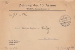 FELDPOSTEXP. 4 1 1916. ZEITUNG DER 10° ARMEE WILNA TO LEIPZIG           /  2 - Briefe U. Dokumente
