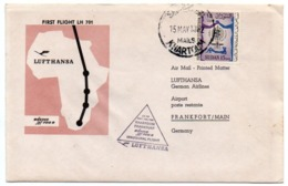 LUFTHANSA-BOEING JET 720 B/ FIRST FLIGHT KHARTOUM - FRANKFURT/ WITH SUDAN MALARIA ERADICATION STAMP 1962 - Aerei