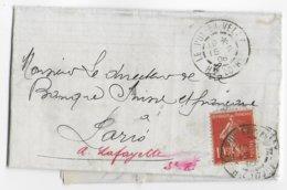 SEMEUSE - 1908 - SUPERBE TEINTE FONCEE Sur LETTRE De LE PUY EN VELAY (HAUTE LOIRE) => PARIS - 1906-38 Semeuse Camée