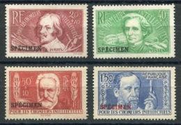 RC 14471 FRANCE 330a / 333a SÉRIE CHOMEURS INTELLECTUELS SURCHARGÉE SPECIMEN COTE 400€ (*) MNG - Unused Stamps