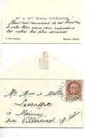 Carte Visite Avec Enveloppe (9 X 5 Cm) 1943 / 92 BAGNEUX Henri PREDINE / Timbre Général PETAIN Type Bersier Brun 1F50 - Cartes De Visite