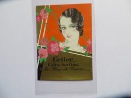 Etiquette Lotion Extra Surfine Aux Fleurs De France Paris Femme Art Nouveau - Labels