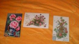 LOT DE 3 CARTES POSTALES DONT 2 GAUFREES ANCIENNES CIRCULEE DATE ?../ FLEURS.../ BONNE FETE, SOUVENIR AFFECTUEUX, ... - Blumen